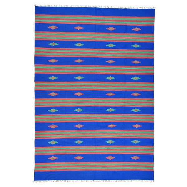 One-of-a-Kind Tottenville Flat Weave Killim Hand-Knotted Cotton Blue Area Rug by Millwood Pines