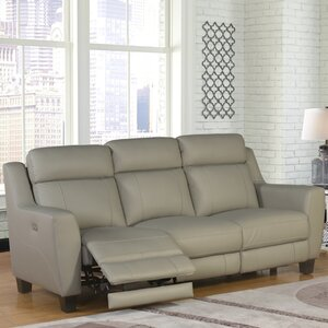 Florham Gray Top Grain Leather Power Reclining Sofa and Recliner Set by Latitude Run