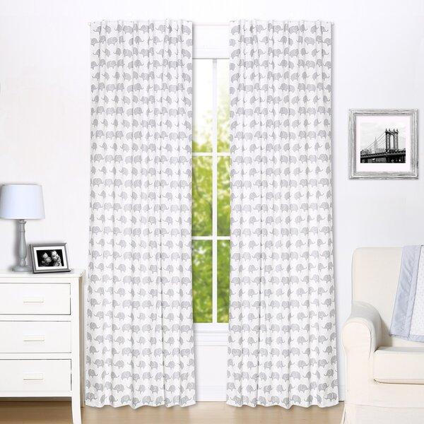 Elephant Wildlife Semi-Sheer Rod Pocket Curtain Panels (Set of 2) by The Peanut Shell