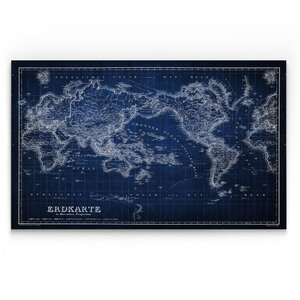 'Vintage Wold Map IV' Graphic Art Print on Wrapped Canvas in Blue by Wexford Home