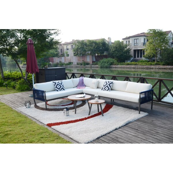Shreve 5 Piece Rattan Sectional Seating Group with Cushions by Bungalow Rose