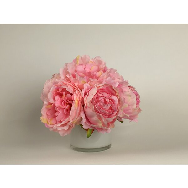 Artificial Silk Peonies Floral Arrangement in Decorative Vase by Mercer41