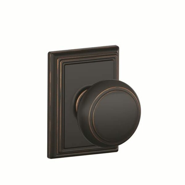 Interior Non-Turning Andover Knob and Interior Inactive Deadbolt Thumbturn with Addison Trim by Schlage