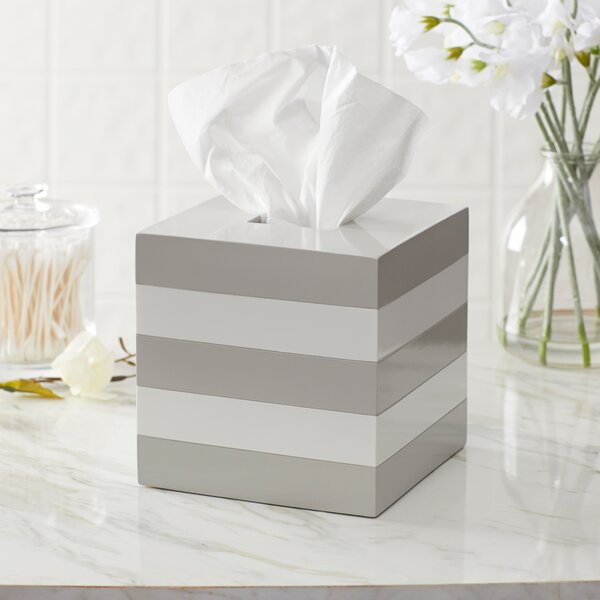Imogen Striped Lacquer Tissue Box Cover by Birch Lane™