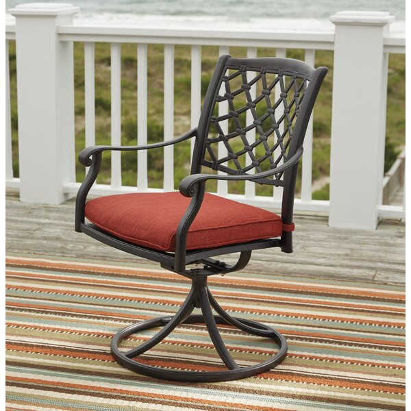 Burgett Swivel Patio Dining Chair with Cushion (Set of 2) by Three Posts