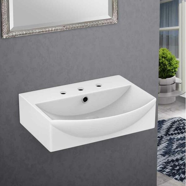 Cera Rectangular Bathroom Sink with Faucet and Overflow by American Imaginations