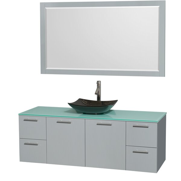 Amare 60 Single Dove Gray Bathroom Vanity Set with Mirror by Wyndham Collection