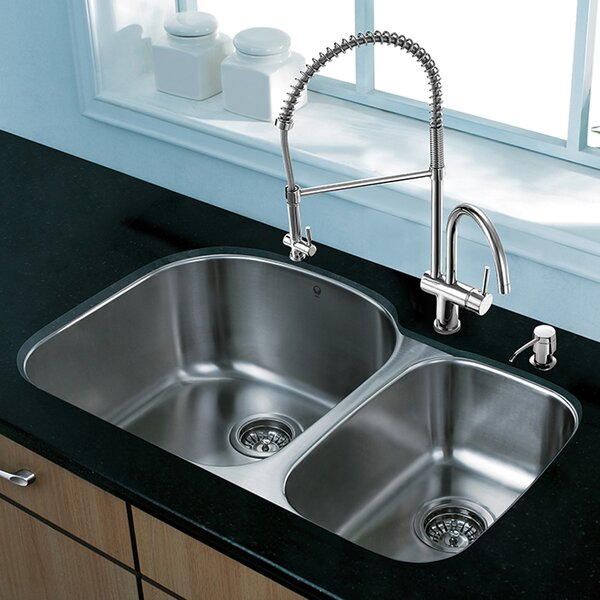 31 L x 20.5 W Undermount 70/30 Double Bowl 18 Gauge Stainless Steel Kitchen Sink with Faucet by VIGO