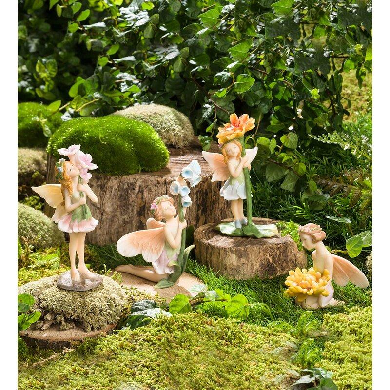 Miniature Flower Pixies 4 Piece Fairy Garden Set