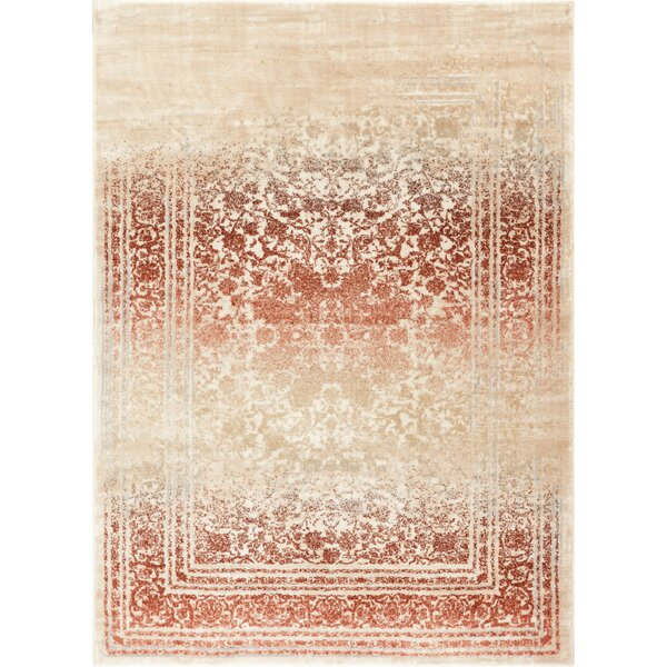 Aya Distressed Medallion Copper/Beige Area Rug by Bungalow Rose