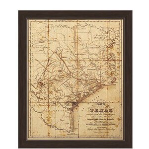 'Map of Texas' Canvas Framed Graphic Art by Loon Peak