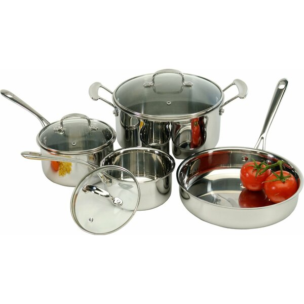 7 Piece Tri-Ply Stainless Steel Cookware Set by Cook Pro
