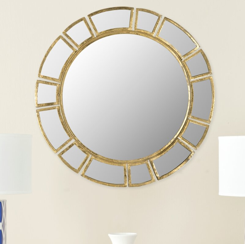 Birksgate Round Antique Gold Patina Sunburst Wall Mirror