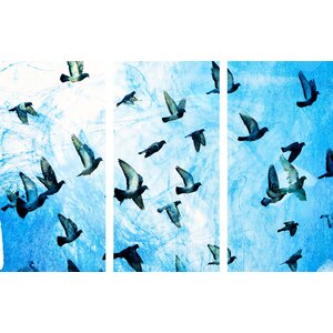 'Birds Flying South Triptych' Painting Print on Wrapped Canvas by Marmont Hill