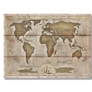 'Old World Map' Graphic Art on Wood by Daydream HQ