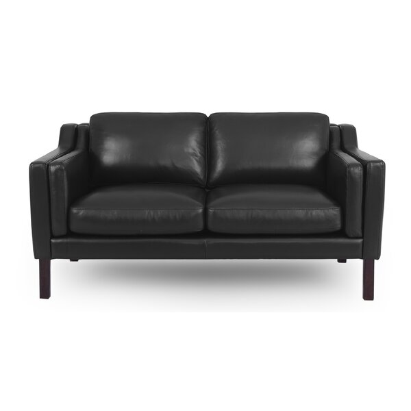 Rolando Mid-Century Leather Loveseat by Corrigan Studio