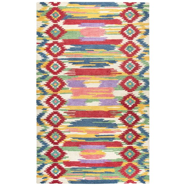Duron Hand-Tufted Red/Natural Area Rug by Bungalow Rose