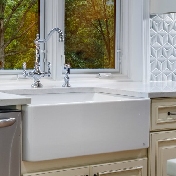 Fireclay Butler 29.5 L X 18.5 W Farmhouse Kitchen Sink by Fine Fixtures