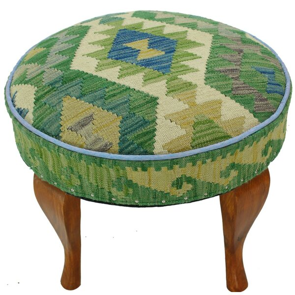 Straight Kilim Upholstered Handmade Ottoman by Bloomsbury Market