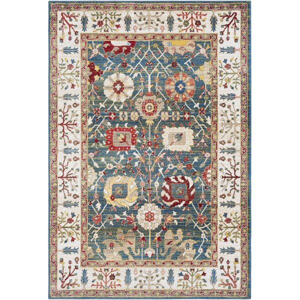Arbouet Floral Navy/Olive Area Rug by Charlton Home