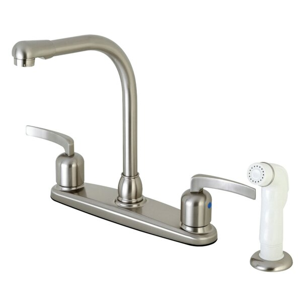 Centurion Hot & Cold Water Dispenser Double Handle Kitchen Faucet with Side Spray by Kingston Brass Kingston Brass