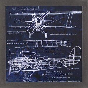 Aero plane Blueprint Framed Graphic Art by Trent Austin Design