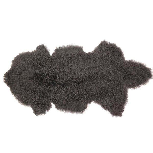 Arkose Shaggy Sheepskin Gray Area Rug by Foundry Select