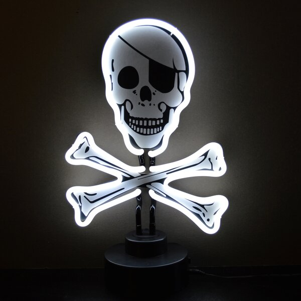 Skull and Crossbones Sculpture by Neonetics