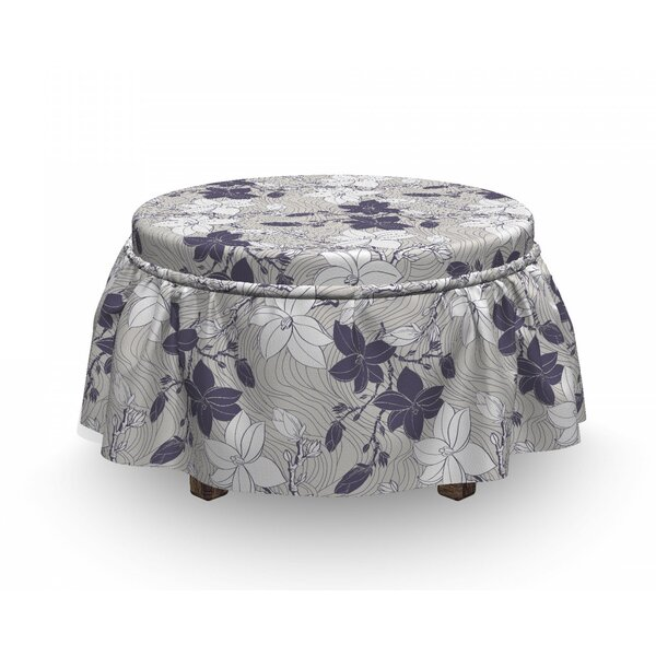 Blooming Magnolia Buds Ottoman Slipcover (Set Of 2) By East Urban Home