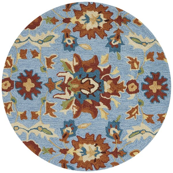 Kips Bay Hand-Hooked Blue/Red Area Rug by Charlton Home