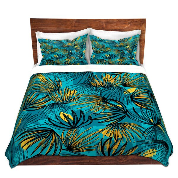Cryal Metka Hiti Unfinished Flowers Teal Gold Microfiber Duvet Covers by Bay Isle Home