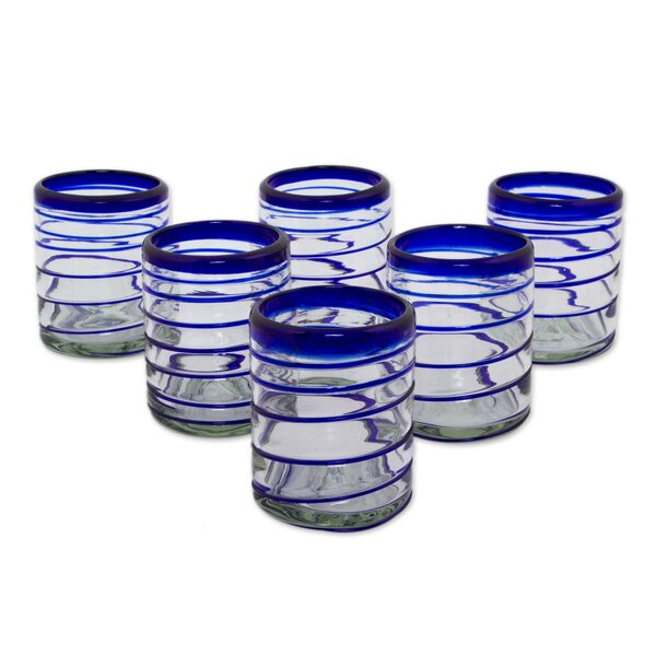 Cobalt Spiral 11 Oz. Every Day Glasses (Set of 6) by Novica