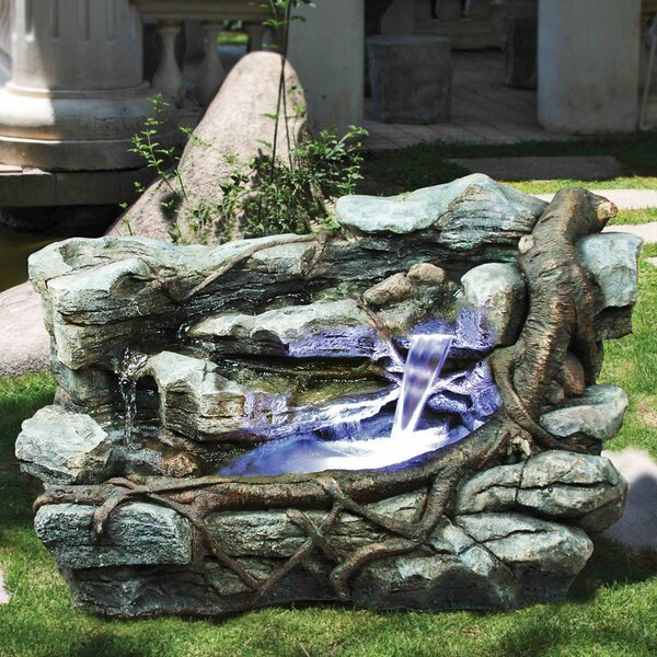 Canyon Resin Cascading Fountain Staggered Rock with LED Light by Wildon Home ®