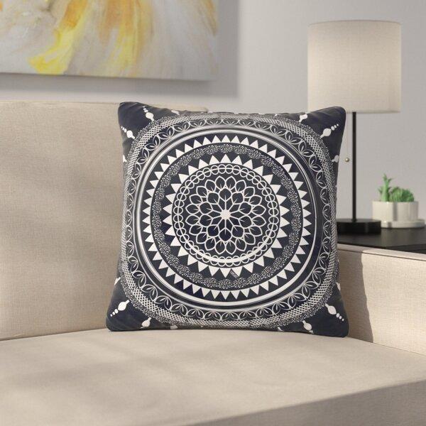 Famenxt Boho Aegean Mandala Outdoor Throw Pillow by East Urban Home