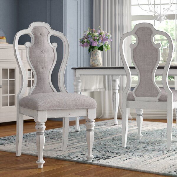 Tiphaine Queen Anne Back Upholstered Arm Chair In Ivory Tweed Chenille (Set Of 2) By Lark Manor