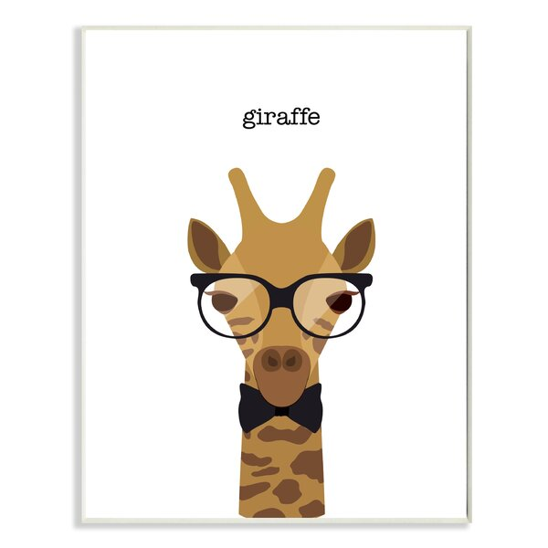 Typographic Hipster Giraffe Oversized Stretched Graphic Art Print by Stupell Industries
