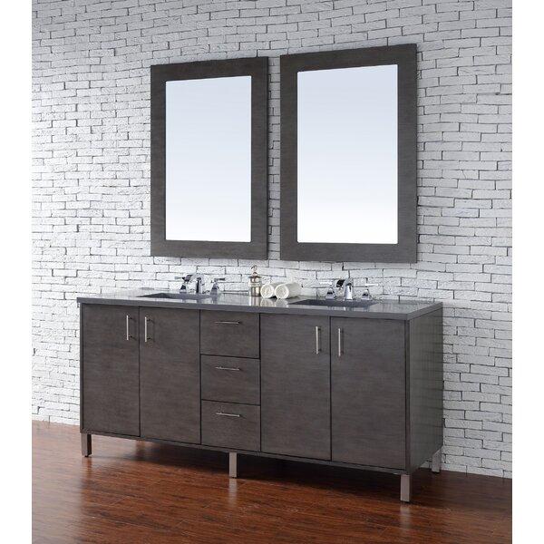 Cordie 72 Double Silver Oak Quartz Top Bathroom Vanity Set by Orren Ellis