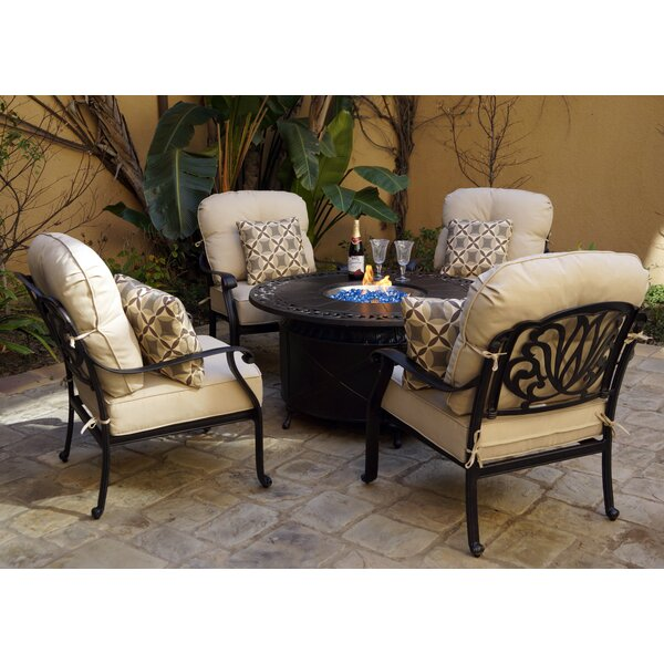 Burdett 5-Piece Fire Pit Multiple Chairs Seating Group Set with Cushions and Pillows by Canora Grey