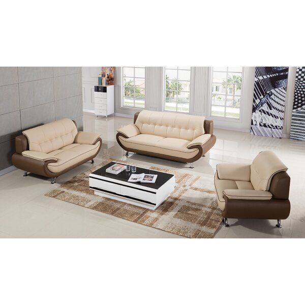 Vickrey 3 Piece Leather Living Room Set by Latitude Run