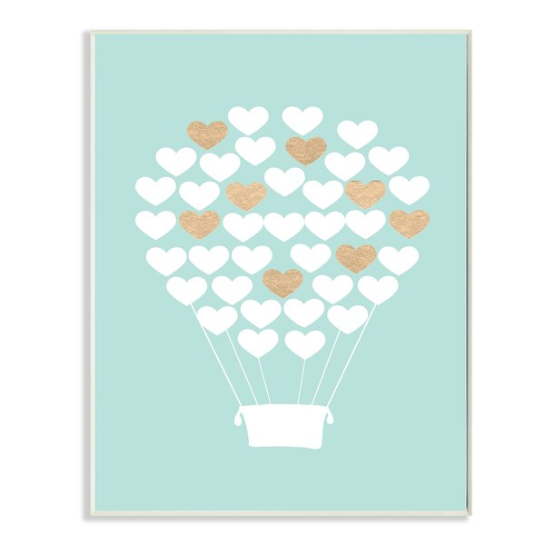 White Gold Teal Heart Hot Air Balloon Wall Plaque by Stupell Industries