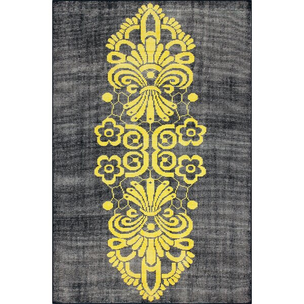Overdye Tribal Hand-Knotted Yellow/Navy Area Rug by nuLOOM