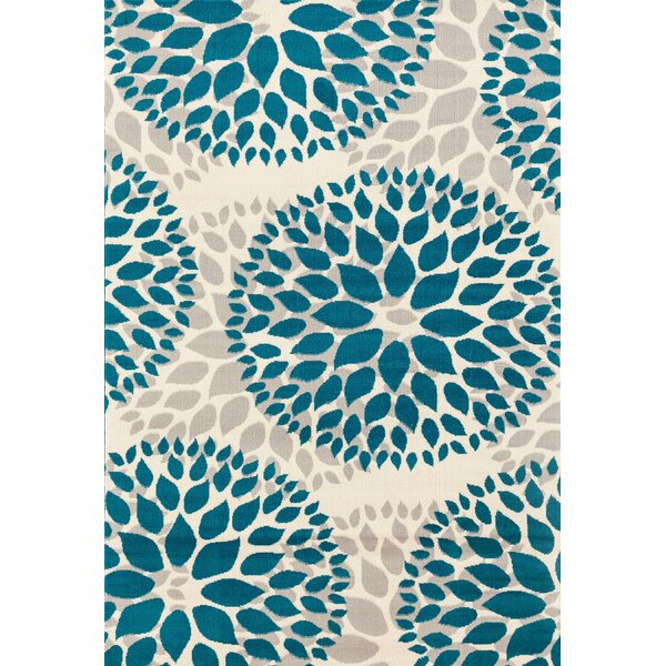 Wallner Power Loom Teal Blue Area Rug by Wrought Studio