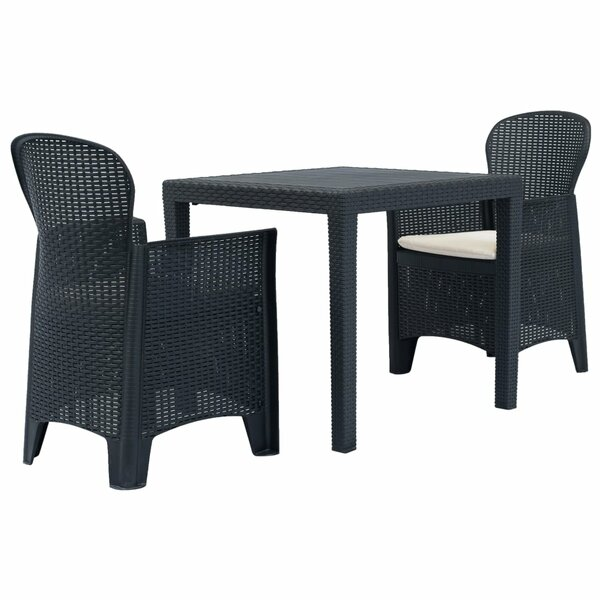 Clotilde 3 Piece Bistro Set with Cushions by Breakwater Bay