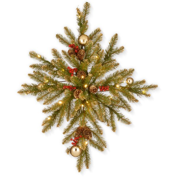 32 Gold Dunhill Fir Bethlehem Star Christmas Wreath Hanger by The Holiday Aisle