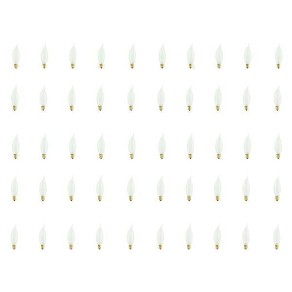 25W E12 Dimmable Incandescent Candle Light Bulb Frosted (Set of 50) by Bulbrite Industries