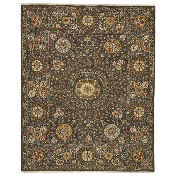 Kondo Hand-Knotted Wool Charcoal Area Rug by Alcott Hill