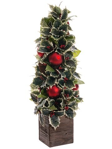 Decorative Holly Pine Cone and Ornament Artificial Christmas Cone Topiary in Planter by Northlight Seasonal