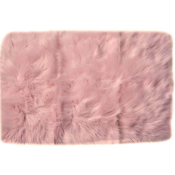 Charlotte Hand-Woven Faux Sheepskin Light Pink Area Rug by House of Hampton