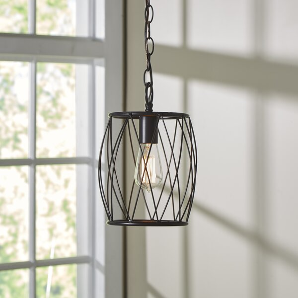 Poynter 1-Light Cylinder Pendant by Wrought Studio