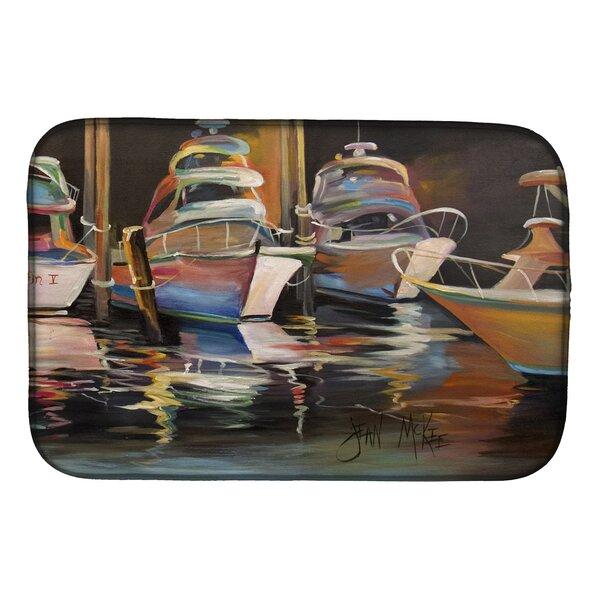 Sea Chase Deep Fishing Boats Dish Drying Mat by Caroline's Treasures